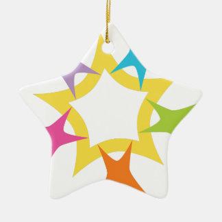 Teamwork Starburst Double-Sided Star Ceramic Christmas Ornament