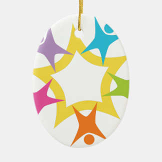 Teamwork Starburst Double-Sided Oval Ceramic Christmas Ornament