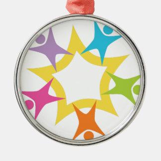 Teamwork Starburst Silver-Colored Round Decoration
