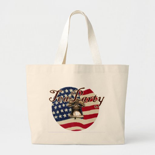 Teaparty Flag and Liberty Bell Canvas Bag