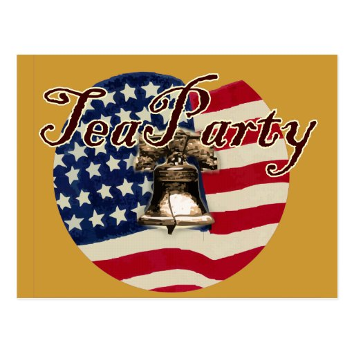 Teaparty Flag and Liberty Bell Post Cards
