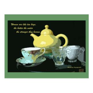 teapot and tea postcard