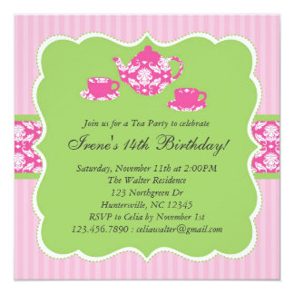 Teapot Birthday Party Invitation