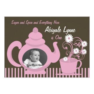 Teapot Birthday Photo Personalized Invites