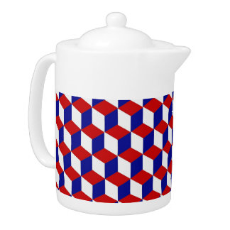 Teapot - Block illusion in red, white, and blue