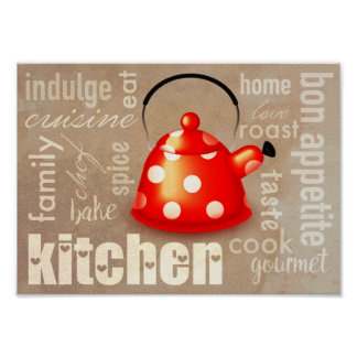 Teapot kitchen art poster