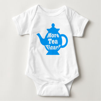 Teapot - More tea Vicar? - Mid Blue and White Baby Bodysuit