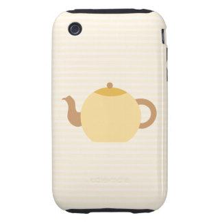 Teapot Picture in Neutral Colors. iPhone 3 Tough Case