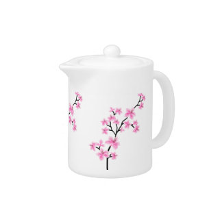 Teapot Pink White Asian Blossom Flowers Small