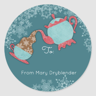 Teapot pouring snowflakes from the kitchen of round sticker
