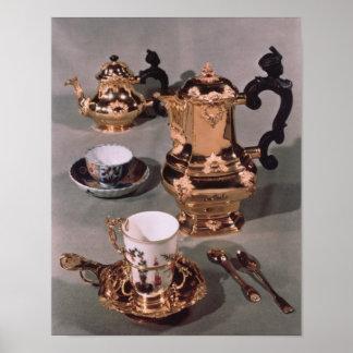 Teapot, sugar bowl, chocolate pot and mug print