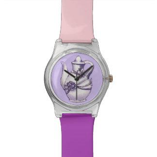 Teapot Tea Time Pink and Purple Wristwatch