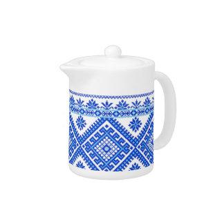 Teapot Ukrainian Cross Stitch Embroidery Blue