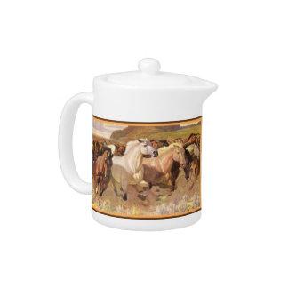 Teapot Wild Horses Horse Stampede Mustangs Western
