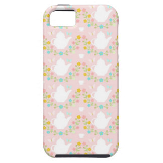Teapots and flowers on pink iPhone 5 covers