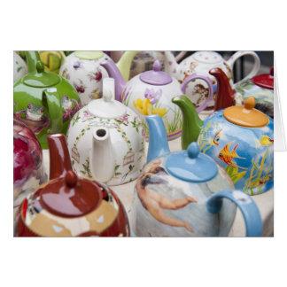 Teapots on sale in Leipzig, Germany Card