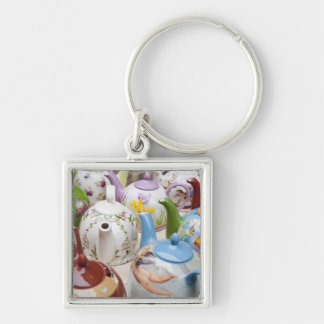 Teapots on sale in Leipzig, Germany Silver-Colored Square Key Ring