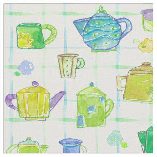 Teapots Teacups Watercolor Flowers Fabric