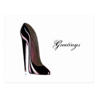 Tear drop and black stiletto shoe postcard