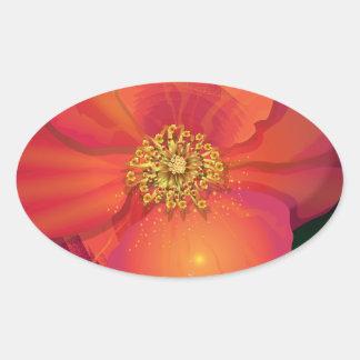 Tear Drop Flower Oval Sticker