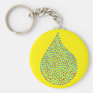 Tear Drop Iridescent Basic Round Button Key Ring