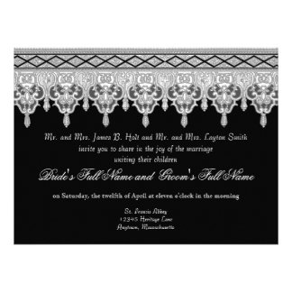 Tear Drop Lace Black Grey White Wedding Invite