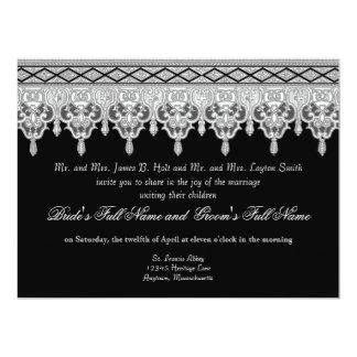 Tear Drop Lace, Black, Grey & White Wedding Invite