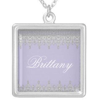 Tear Drop Lace, Lavender & Grey - Bridal Pendant