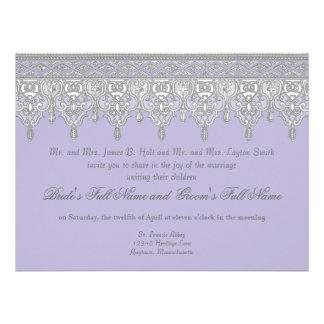 Tear Drop Lace Lavender Grey - Wedding Invite