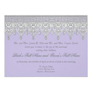 Tear Drop Lace, Lavender & Grey - Wedding Invite