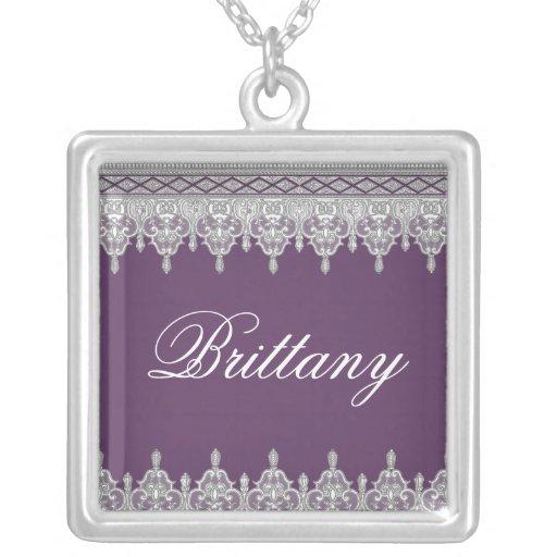 Tear Drop Lace, Plum Purple - Bridal Pendant