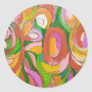 Teardrop Abstract Flowers (abstract expressionism) Round Sticker