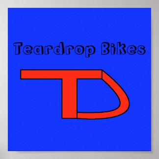 teardrop blue red Teardrop Bikes Posters