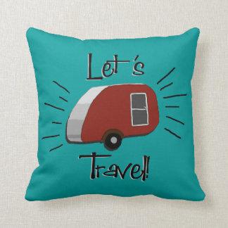 Teardrop Camper Retro Design Throw Pillow