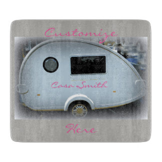 Teardrop gypsy caravan happy glamping cutting board