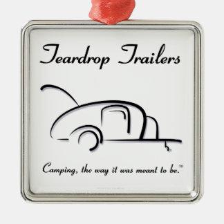 Teardrop Trailers Black Version Silver-Colored Square Decoration