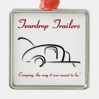 Teardrop Trailers Red Version Silver-Colored Square Decoration