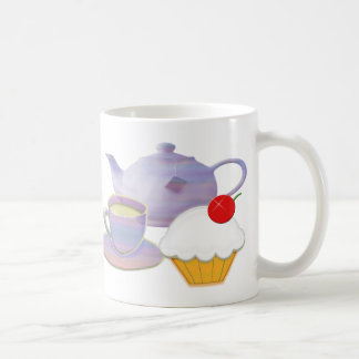 Teatime and cherry cupcake art gifts coffee mug