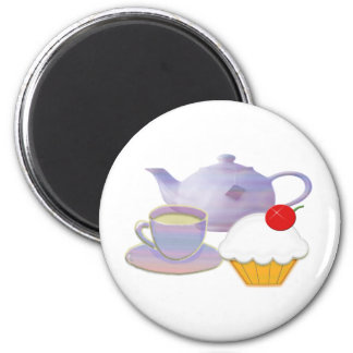 Teatime and cherry cupcake art gifts magnet