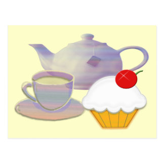 Teatime and cherry cupcake art gifts postcard