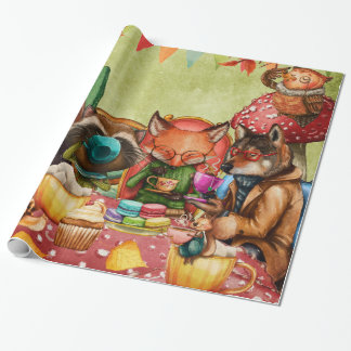 Teatime in Forest with Woodland Friends Wrapping Paper