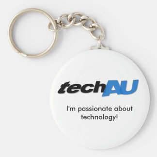 techAU keyring Basic Round Button Key Ring
