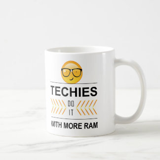 'Techies Do It' Emoji ID236 Basic White Mug