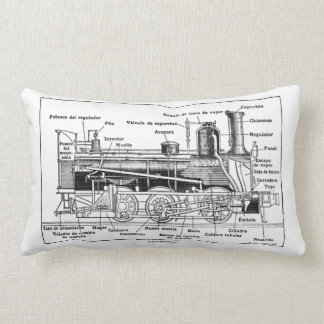Technical Diagram Steam Train Lumbar Pillow