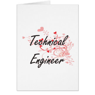 Technical Engineer Artistic Job Design with Hearts Greeting Card