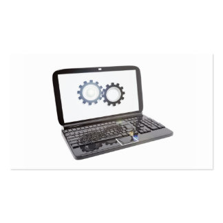 Technical Laptop and icon of support Business Card Template