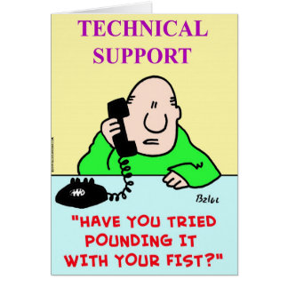 technical support pounding fist greeting card