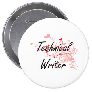 Technical Writer Artistic Job Design with Hearts 10 Cm Round Badge