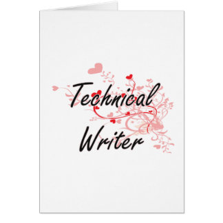 Technical Writer Artistic Job Design with Hearts Greeting Card