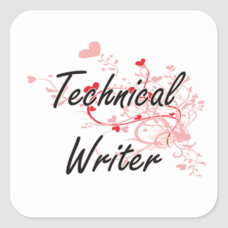 Technical Writer Artistic Job Design with Hearts Square Sticker